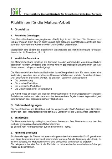 Richtlinien Maturarbeit Das Mng