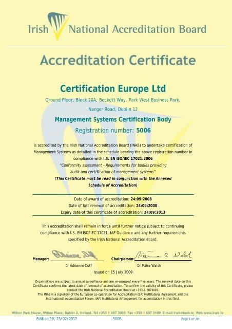 Certification Europe Ltd - 5006 - INAB