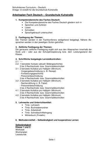 Curriculum für das Fach Deutsch für alle Klassen - Grundschule ...