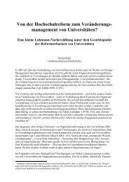 Von der Hochschulreform zum Veränderungs- management von ...