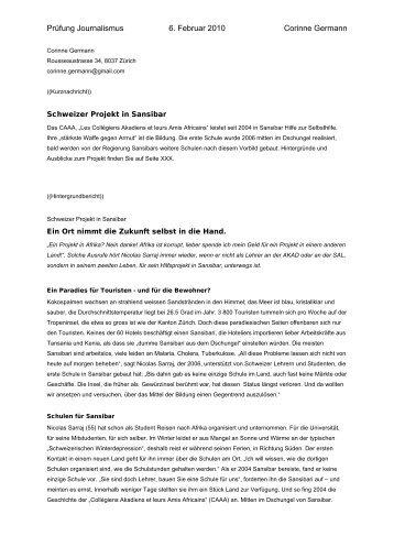 Berichte von Studierenden der SAL - Februar 2010 - CAAA