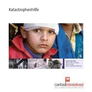 Katastrophenhilfe Broschüre von Caritas international