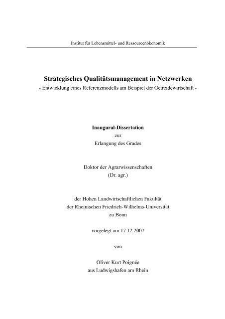 Strategisches Qualitätsmanagement in Netzwerken - Entwicklung ...