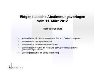 Eidgenössische Abstimmungsvorlagen vom 11. März 2012