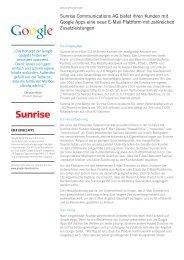 Sunrise Communications AG bietet ihren Kunden mit Google Apps ...