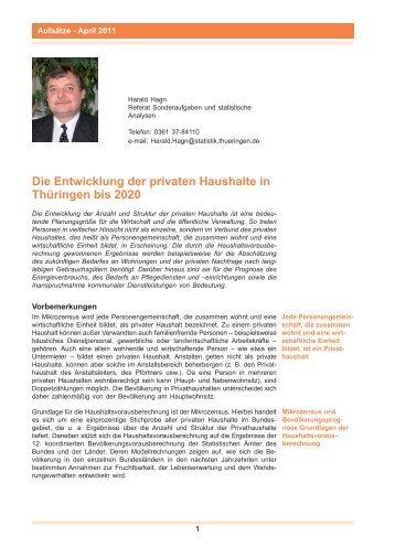 Die Entwicklung der privaten Haushalte in Thüringen bis 2020