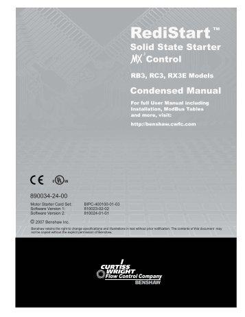 LV MX3 Condensed manual [apri... - Benshaw