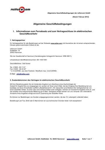 Allgemeine Geschäftsbedingungen - Reifen.com