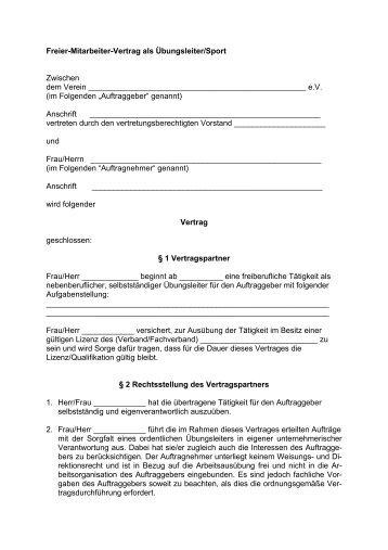 Freier Mitarbeiter Vertrag Als übungsleitersport Vertrag Lsb H