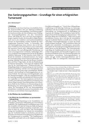 Das Sanierungsgutachten – Grundlage für ... - Kilger & Fülleborn