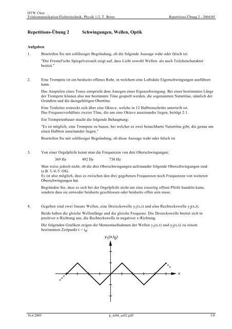 Repetitions-Übung 2 Schwingungen, Wellen, Optik - Thomas Borer