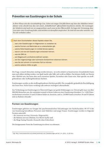 Prävention von Essstörungen in der Schule - Verlag E. Dorner