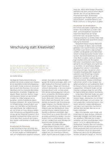 Pädagogik: Verschulung statt Kreativität? (pdf, 36KB)