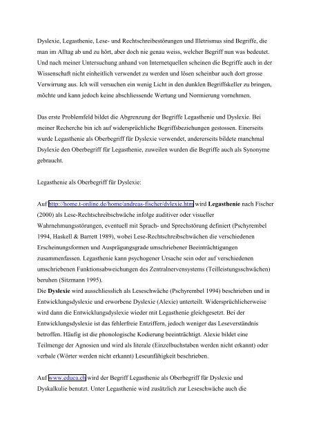 Vergleichende Untersuchung zur Verwendung der Begriffe Dyslexie ...