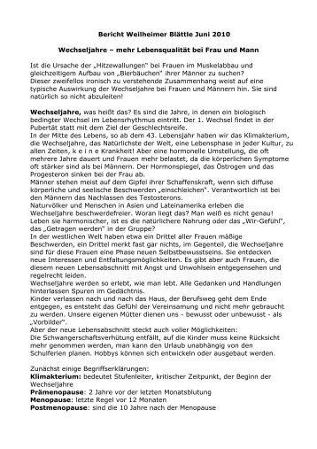 Wechseljahre Bei Mann Und Frau - Naturheilpraxis Jutta Weil