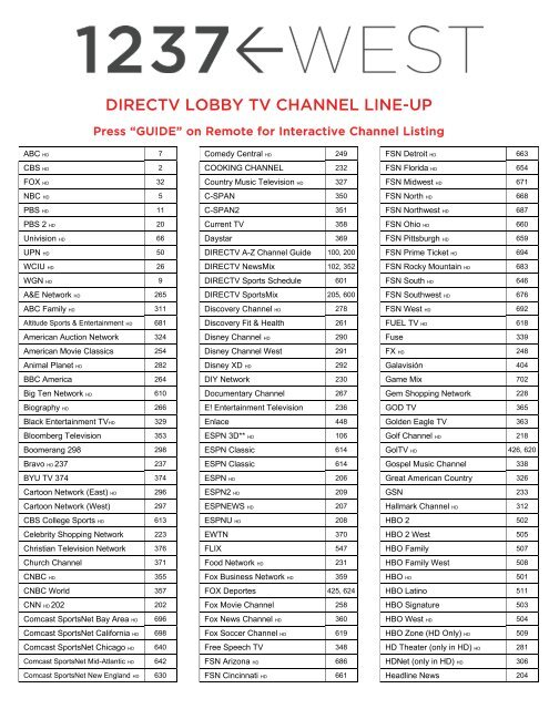 image regarding Direct Tv Channels Printable List named DIRECTV Foyer Tv set CHANNEL LINE-UP - 1237 West
