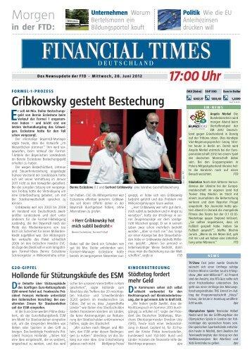 FTD 17:00 Uhr News-Update der FTD - Financial Times Deutschland