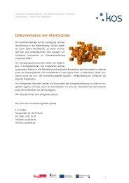 Dokumentation der Marktstände - Koordinierungsstelle Qualität, Berlin