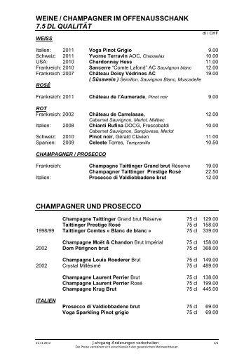 WEINE / CHAMPAGNER IM OFFENAUSSCHANK 7.5 DL QUALITÄT ...