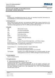 QUALITÄTSMANAGEMENT Arbeitsanweisung ... - MAHLE Industry