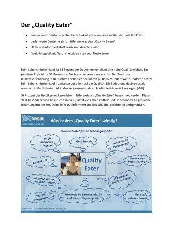 "Der ""Quality Eater"" Quality Eater - Nestlé Deutschland AG"