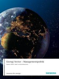 Energy Sector – Managementpolitik - Qualität, Umwelt ... - Siemens