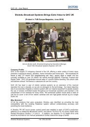Shotoku Broadcast Systems Brings Extra Value to QVC UK