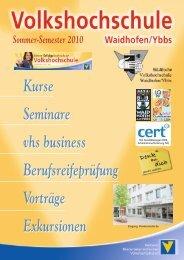 KURSE Sommer-Semester 2010 - gemeindeserver.net