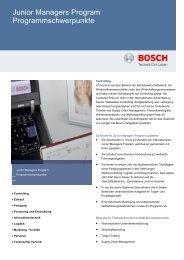 Junior Managers Program Programmschwerpunkte - Bosch