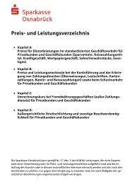 Preis- und Leistungsverzeichnis - Sparkasse Osnabrück