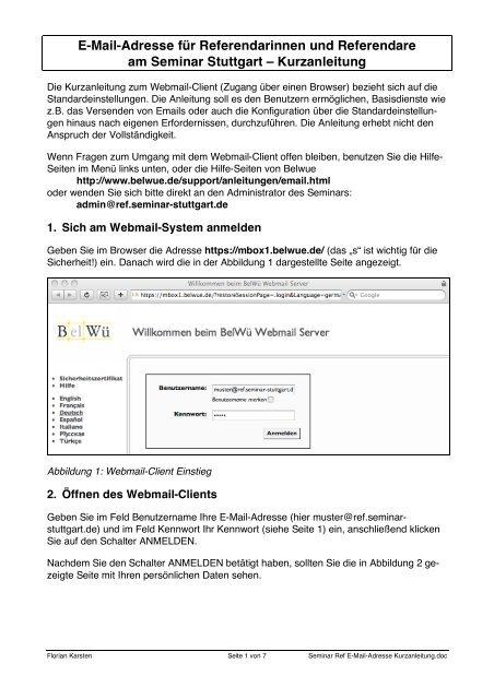Seminar Ref E-Mail-Adresse Kurzanleitung