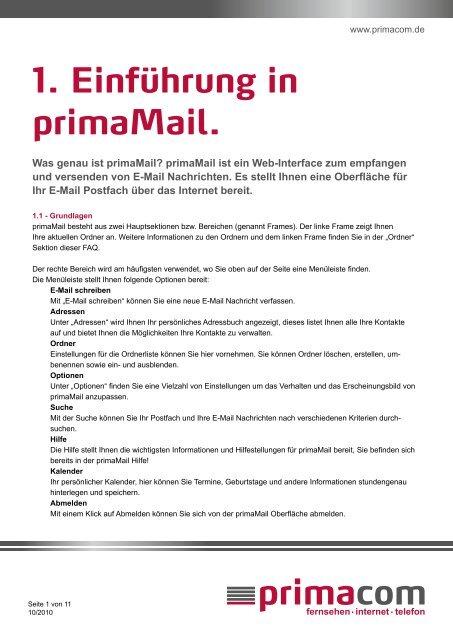 Kurzanleitung primaMail - Primacom