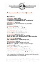 Verkaufspferde Liste - Stand Januar `08