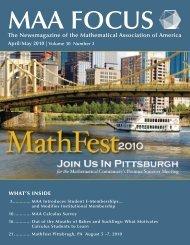 April/May 2010 - Department of Mathematics - University of ...
