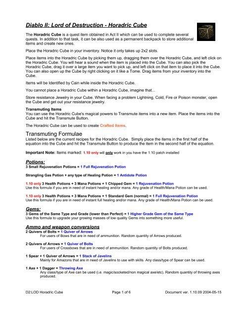 Diablo 2 Rune Recipes Horadric Cube Dandk Organizer