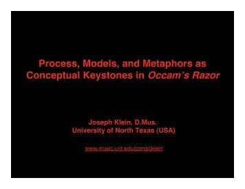 Joseph Klein: Occam's Razor - UNT College of Music - University of ...