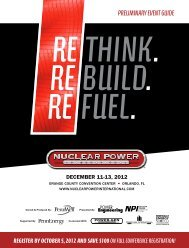 PREliMinARY EVEnt GuidE - NUCLEAR POWER International