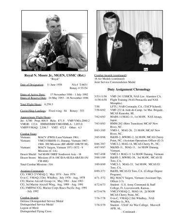 Royal N. Moore Jr., MGEN, USMC (Ret.) Duty Assignment Chronology