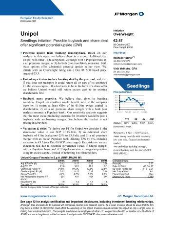 Unipol: Summary of Financials