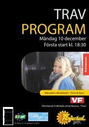 Travprogram måndag 10 december - Färjestadstravet