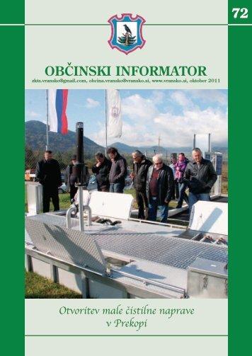 Občinski informator št. 72 (28. 10. 2011) - Občina Vransko