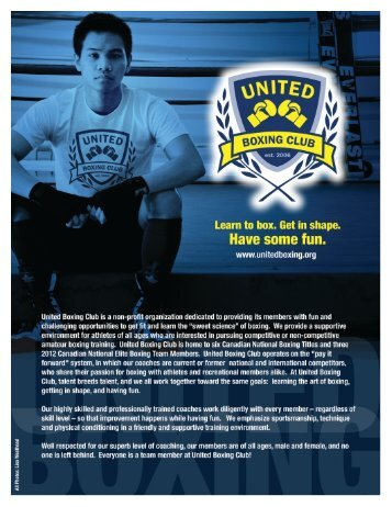Download our Online Brochure Here (PDF) - United Boxing Club