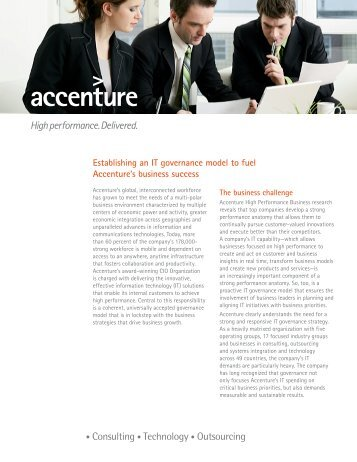 Establishing an IT governance model to fuel Accenture's business ...