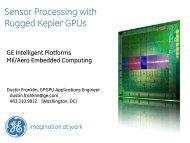 Sensor Processing with Rugged Kepler GPUs - GPU Tech ... - Nvidia