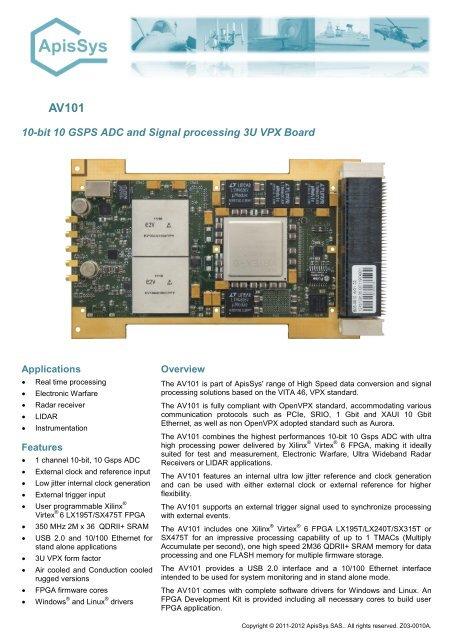 10-bit 10 GSPS ADC and Signal processing 3U VPX Board - ApisSys