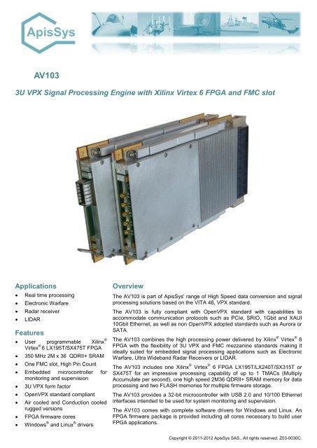 FPGA The AV103 is fitted