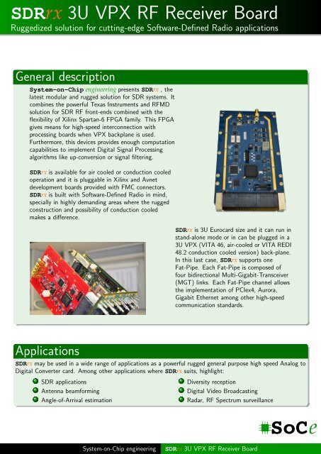 SDRrx 3U VPX RF Receiver Board - SoC-e