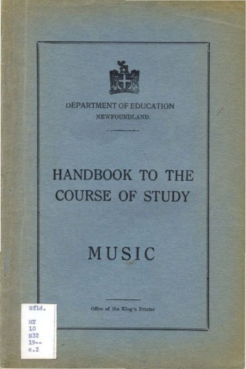 handbook to the course of study music - Memorial University's ...