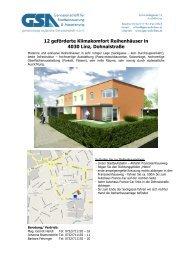 12 geförderte Klimakomfort Reihenhäuser in 4030 ... - GSA Wohnbau