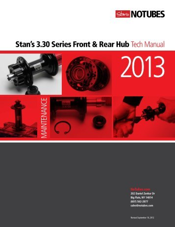 Stan's 3.30 Series Front & Rear Hub Tech Manual - NoTubes